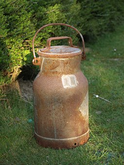 Milk Can, Old, Iron, Pot