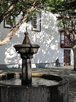 Fountain, Kirchplatz, La Palma, Light And Shadow