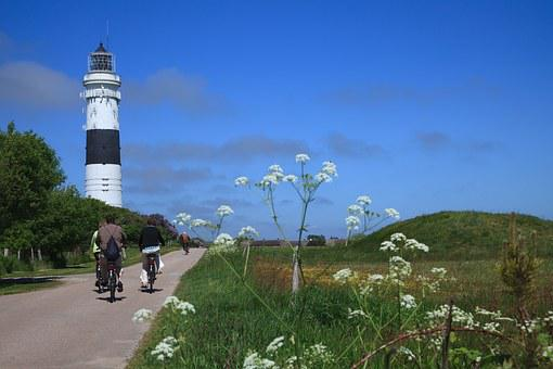 Lighthouse, Sylt, Cyclists, Holiday, Leisure