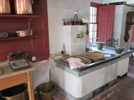Kitchen, Pots, Pans, Copper, Old Fashioned, Museum