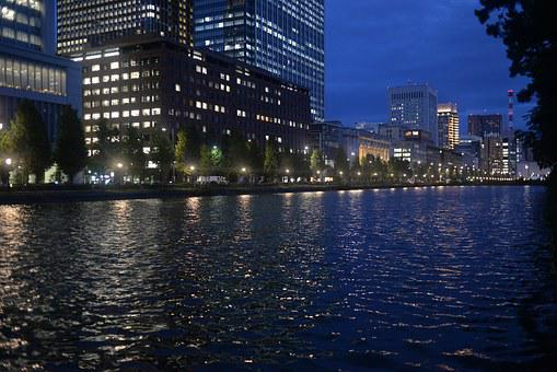 Night View, City, Jiang, River, Tokyo, Riverside
