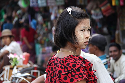 Girl, People, Young, Market, Street, Snapshot, Burmese