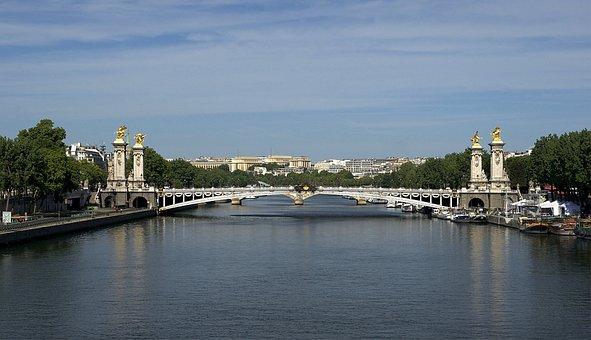Paris, France, Bridge, Pont Alexandre Iii, City, River