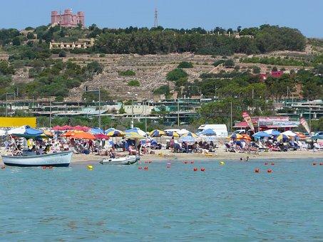 Mellieha Bay Malta, Mellieha, Matla, Beach, Malta Beach