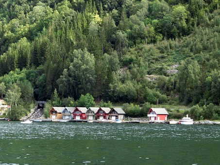 Boathouses, Homes, At The Lake, Water, Mountain, Norway