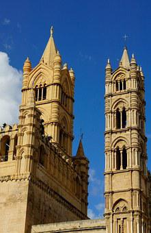Cathedral, Palermo, Sicily, Church, Architecture, Tower