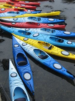 Kayaks, Pattern, Boats, Colorful, Water, Ocean, Boat