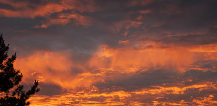 Sunset, Evening, Horizon, Blazing Sky, Clouds
