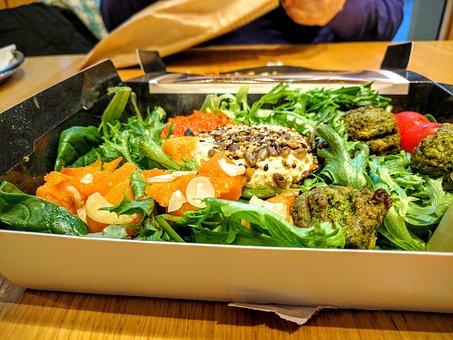 Food, Salad, Bread, Hummus, Sliced, Whole, Meal, Pitta