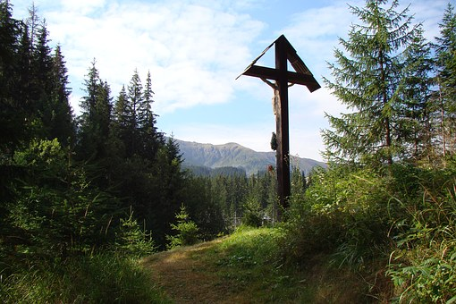 Cross, Summit, Idyll, Forest, Jesus Crist, Religion