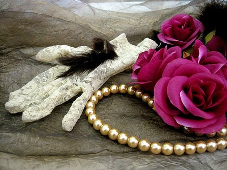 Lace, Glove, White, Feather, Soft, Immatation Roses