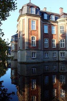 Moated Castle, Castle, Münsterland, Mirroring, Sunny