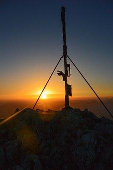 Summit Cross, Sunrise, Mountain, Nature, Alpine
