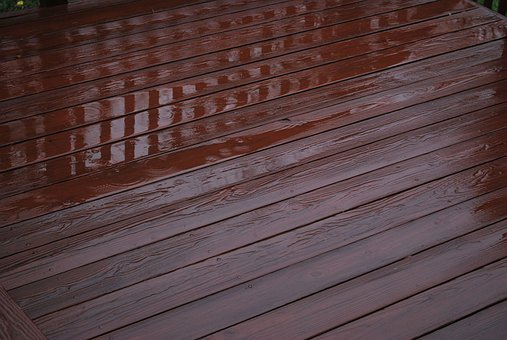 Deck, Wooden, Rain, Water, Slick, Slippery, Puddle