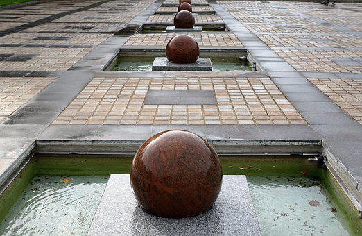 Ball, Water, Fountain, Granite