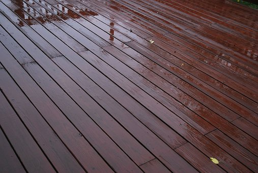 Deck, Wooden, Rain, Water, Slick, Slippery