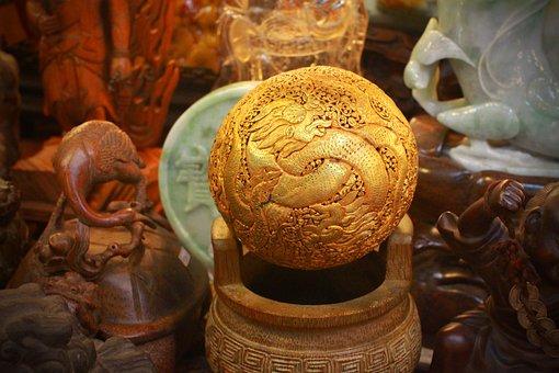 Asia, Taiwan, Antique, Dragon, Gold, Ball