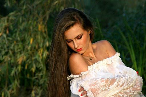 Girl, Long Hair, White, Beauty, Portrait, Willow, Green