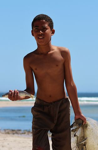 Boy, South Africa, Africans, Network, Fish, Beach, Sea