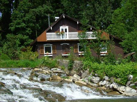 House, Waterfall, Romantic, In The Green