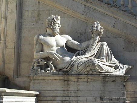 Piazza Del Campidoglio, Statue, Monument, One, Lying