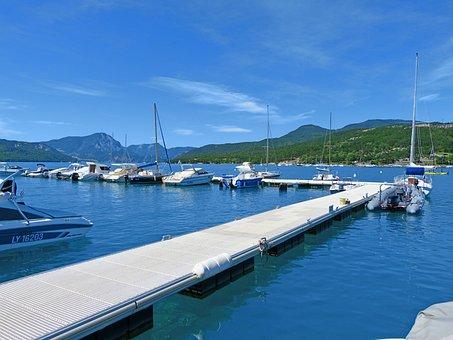 Port, Lake, Landscape, Pier, Sailboats, Motor Boats