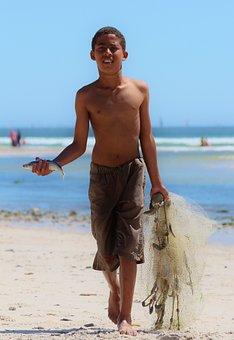 Boy, Beach, Fish, Ocean, Network, Water, Fishing