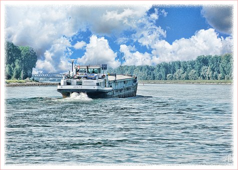 Rhine Ferry, Art, Paint, Digital Art, Landscape, Ship