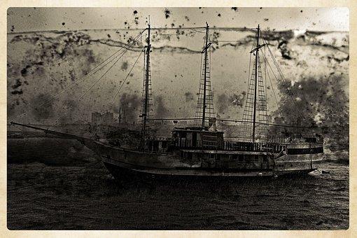 Sailing, Ship, Boat, Antique, Artwork, River, Frame