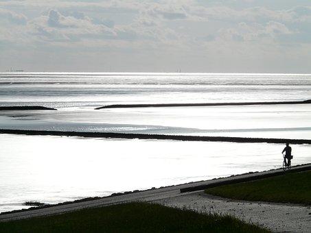 North Sea, Dike, Sea, Ocean, Back Light, Sparkle