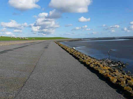 Dike, Dike Road, North Sea, Nordfriesland, Sea, Ocean