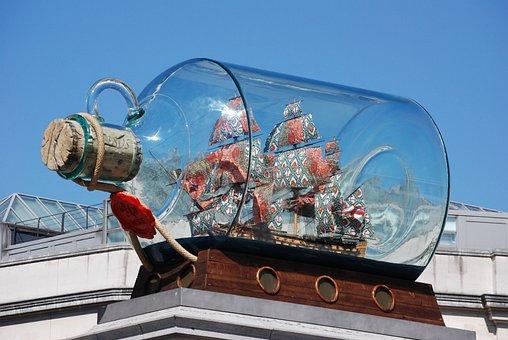 Ship, Bottle, Miniature, Nelson, Artwork