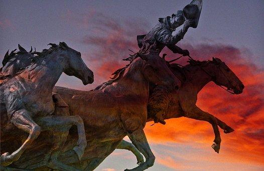 Fiery, Sky, Horses, Rider, Surreal, Sculpture