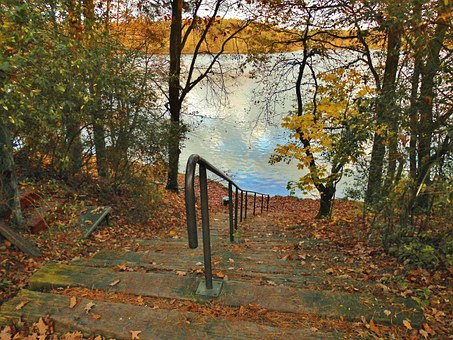 Lake, Bank, Stairs, Idyllic, Autumn, Idyll, Flakesee