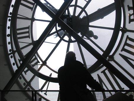 Man, Watching, Thinking, Clock, Time, Museum, Europe