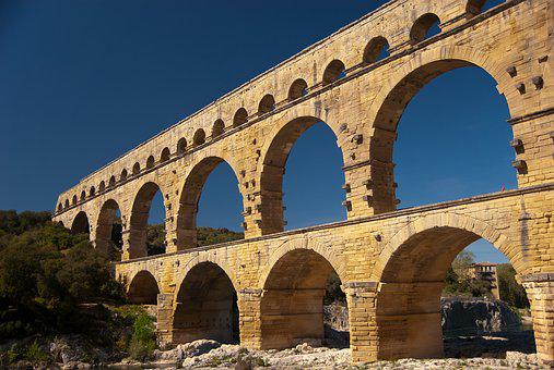 Bridge, Pont Du Gard, France, Aqueduct, Building