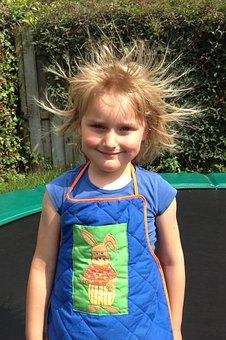 Girl, Child, Trampoline, Blonde, Static Electricity