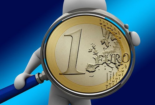 Hand, Magnifying Glass, Euro, Money, Currency, Finance