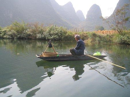 Man, Raft, China, Yangshuo, River, Mountains, Water