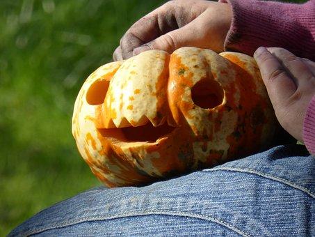 Hands, Dirty, Pumpkin, Play, Tinker, Halloween, Girl