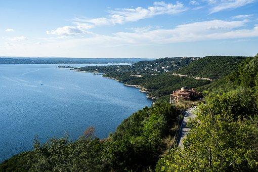 Scenic, Coastline, Lake Travis, Blue Water, Sky