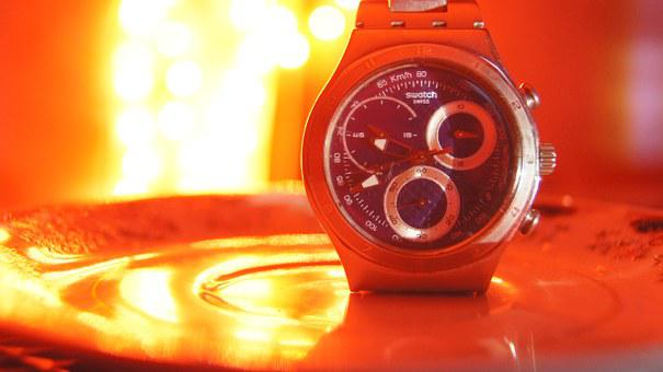 Watch, Bokeh, Red, Time, Midnight, Swatch