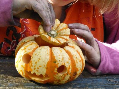 Pumpkin, Tinker, Children, Play, Halloween, Girl