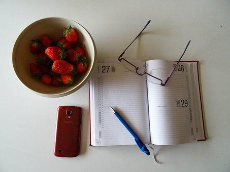 Strawberries, Glasses, Ball Pen, Agenda, Work, Healthy