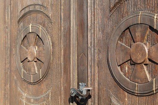 Door, Wooden Door, Crosses, Handle, Church, Entrance
