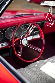 Steering Wheel, Cockpit, Driver's Seat, Vintage, Car