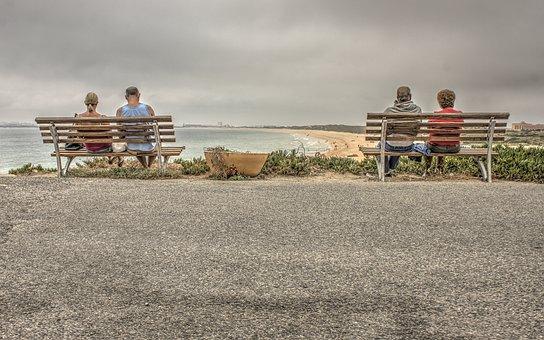 Beach, Bench, Chair, Coastline, Couple, Grass