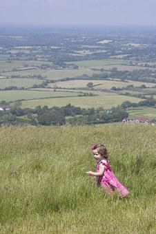 Child, Devils Dyke, Pink, Girl, Running, England