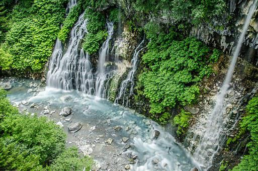 Hokkaido, Waterfall, Waterfall Of Shirahige, Green