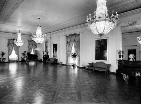 The White House, Black And White, 1952, East Room